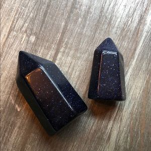 Dainty blue goldstone set magical galaxy crystals
